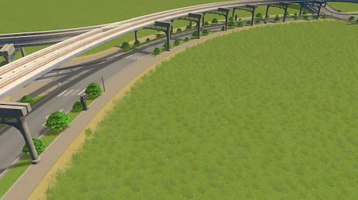 Steam: 2-Lane Monorail road with plants