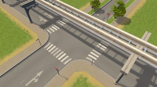 Steam: Monorail 2-Lane One Way Road